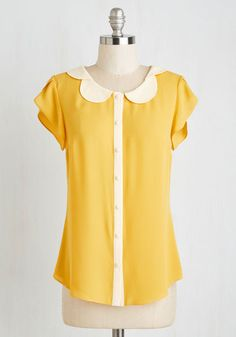 Teacher's Petal Top in Yellow. Go for the gold star by buttoning into this buttercup yellow blouse! #yellow #modcloth