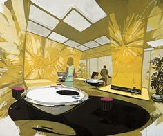 Tomorrow's Kitchen, Syd Mead Illustration (1970.)