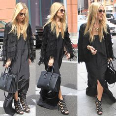 Rachel Zoe Channels '70s Style in a Fringed Jacket and Strappy Heels