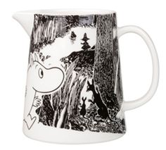"""Moomin Adventure Pitcher The great porcelain maker, Arabia, has once again added another piece to its already extravagant Moomin collection with this cute glossy-finished pitcher. A part of the new """"Moomin Adventure"""" series, t. Marimekko, Moomin Mugs, Water Carafe, Tove Jansson, Black And White Background, Nordic Home, Scandinavian Interior Design, Finland, Original Artwork"""