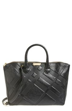 Free shipping and returns on Burberry 'Medium Dewsbury' Tote at Nordstrom.com. Embossed checks bring refined character to a scene-stealing tote cast in richly textured leather and finished with a logo-etched goldtone plate.