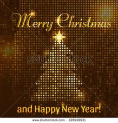 Golden like mosaic flickering square. Christmas tree. Vector illustration of Merry Christmas and Happy New Year!.