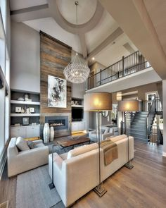 Like this wood fireplace look with a lighter wood or grey color. The Chic Technique: Living Room, Ribbon Fireplace, Wood fireplace, 2 story living room Wood Fireplace, Living Room With Fireplace, Home Living Room, Living Room Designs, Fireplace Ideas, Two Story Fireplace, Living Room Stairs, Living Room Vaulted Ceiling, Fireplace Facade