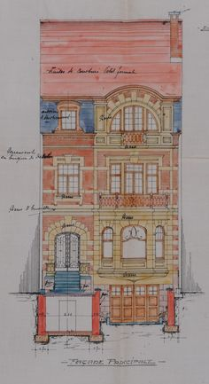 Schaerbeek - Boulevard Auguste Reyers 171 - DE BRIGODE Architecture Arc, Classic Architecture, Architecture Drawings, Historical Architecture, Architecture Details, Modernisme, House Drawing, 3d Max, Architectural Elements