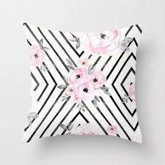 Throw Pillow featuring Blush Roses Mod by CRYSTAL WALEN