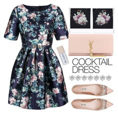 """""""Spring - Flower Power"""" by karineminzonwilson ❤ liked on Polyvore featuring Relaxfeel, Yves Saint Laurent, Miu Miu, Polaroid, Spring, floralprint, cocktaildress, brunch and springformal"""