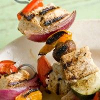 Grilled Swordfish Kebabs with Mixed Herb Pesto: This is a great way to showcase swordfish, a fish that's right at home on the grill and especially nice when served with seasonal local veggies.