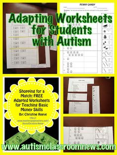 Autism Classroom News: FREEBIE!! Adapting Worksheets for Students with Autism: Setting Up Classrooms Series-Materials