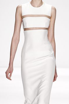 White dress with floating panel; fashion details // Kaufmanfranco Fall 2014