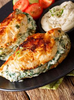 Pan Fried Spinach & Cream Cheese Stuffed Chicken . This healthy, low fat, high protein chicken dish is fast and simple to prepare!