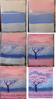 Field of Pink painting idea, flowering pink tree step by step.