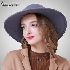 Fashion Wide Brim Hats For Women 100% Australian Wool Elegant Floppy Hat Female Wool Felt Hat Ribbon Do you want it #shop #beauty #Woman's fashion #Products #Hat