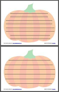 Free set of fall-themed writing pages - pumpkins and leaves.  Includes elementary and plain lines