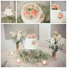 babys breath + carnation wedding cake (daisies or yellow flowers of some sort instead of carnations)