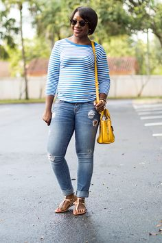 stripe tee and distressed denim outfit with yellow bag miami fashion blogger 1 Yellow Mellow