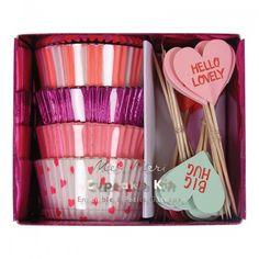 Pastel Hearts Cupcake Kit   Meri Meri   Valentines Cupcakes