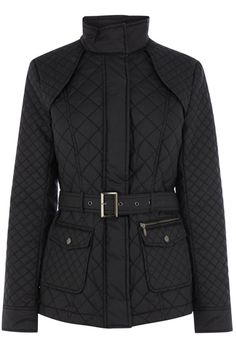 Black quilted jacket, double button pocket feature on the front and a hidden zip fastening on the lapel.