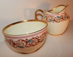 Adderly Pink, Aqua Blue,Gold Creamer, Open Sugar Bowl Bone China Made in England #Adderly