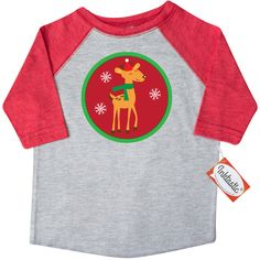 Reindeer Christmas Holiday Gift Toddler T-Shirt Heather and Red $22.99 www.homewiseshopperkids.com