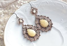 Wire wrapped copper earrings with pastel creamy by SabiKrabi, $62.00