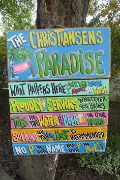 POOL RULES TROPICAL HOUSE BEACH PARADISE HAND MADE PERSONALIZED SIGN  PLAQUE    #FRANSCOUNTRY #TROPICALCABANARULES