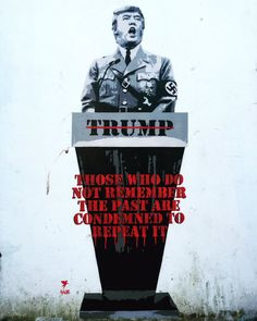 A street artist has painted Donald Trump as a Nazi on the wall of a pub in Bristol, UK.
