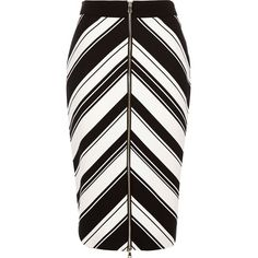 River Island Black stripe chevron print pencil skirt ($70) ❤ liked on Polyvore featuring skirts, black, tube / pencil skirts, women, river island, knee length pencil skirt, black knee length skirt, striped pencil skirt and tall skirts