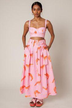 Rachel Antonoff Vinita Pleated Skirt - Prawn Print on Garmentory Look Fashion, Womens Fashion, Fashion Design, Steampunk Fashion, Gothic Fashion, Unique Fashion, Looks Style, My Style, Pool Party Outfits