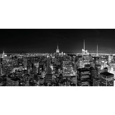 New York City (NYC) Black and White Manhattan Skyline Decorative... (€8,91) ❤ liked on Polyvore featuring backgrounds and black and white