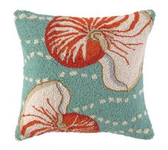 Nautilus Wool Hooked Pillow - love the color combinations!