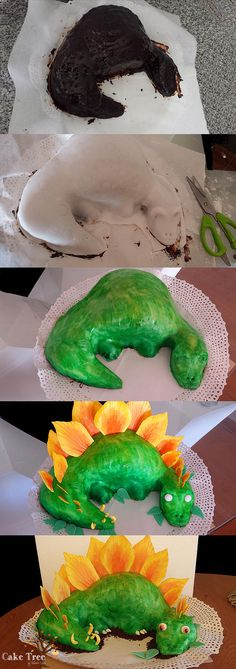 Cake Tree Isidora Silva | Torta Esculpida de Dinosaurio  Dinosaur cake sculpted and covered in fondant
