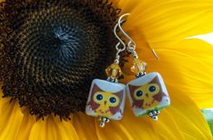 Brown and Yellow Owl with white Decoupage by OldeTowneJewelry, $12.00