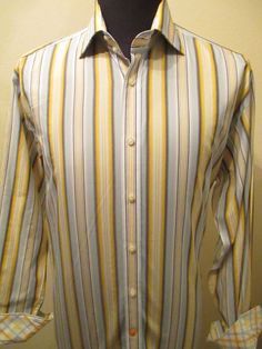 Thomas Dean Mens Yellow Striped Shirt Long Sleeve Size L Large Plaid Flip Cuff #ThomasDean