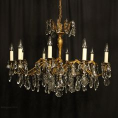 Antiques Atlas - Italian Gilded Brass 10 Light Antique Chandelier Italian Chandelier, Antique Chandelier, Antique Lighting, Chandeliers, Ceiling Rose, Ceiling Lights, Cut Glass, Glass Pendants, Lighting Design