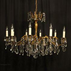 Antiques Atlas - Italian Gilded Brass 10 Light Antique Chandelier Gilded, Brass, Light, Italian Chandelier, Crystal Chandelier, Chandelier, Glass Pendants, Ceiling Lights, Ceiling Rose