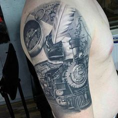 Guys Arms Realistic Feather Quill And Engine Tattoos
