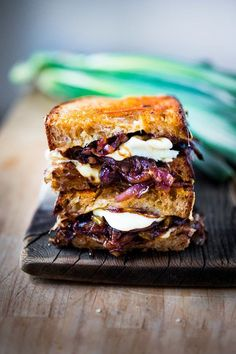 A delicious Grilled Cheese Sandwich with caramelized onions and gruyere....serve with a salad and make this for dinner!!