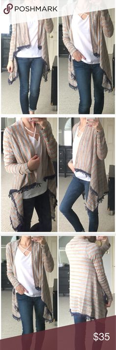 Re posh striped fringe wrap cardigan Very cute and unique! Grey and tan with navy trim. So many ways to style! Sweaters Cardigans