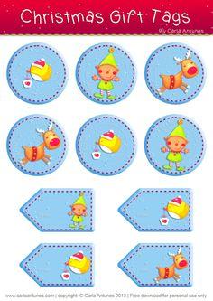 Ilustração de Carla Antunes - Christmas gift tags