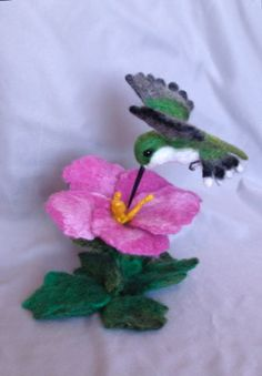 Needle Felted Hummingbird with Flower by Laurie Valko, via Flickr