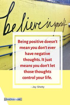"""""""Being positive doesn't mean you don't ever have negative thoughts. It just means you don't let those thoughts control your life. Staff Motivation, Positive Motivation, Motivation Quotes, Happiness Quotes, Happy Quotes, Funny Quotes, Life Quotes, Citations Business, Business Quotes"""