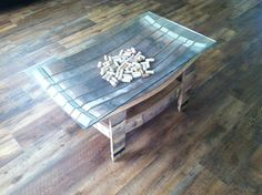 Coffee table made from wine barrel staves