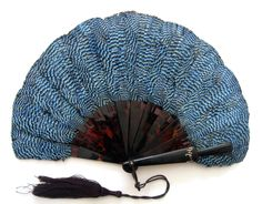 Rare Jay Feather and Tortoiseshell Fan with the Name MAY in Gold - Date: ca. 1905