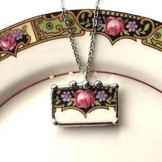 Broken china jewelry pendant necklace, antique pink rose with purple flowers, antique porcelain, made from a broken plate by dishfunctionldesigns on Etsy