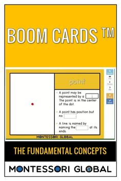 Present the fundamental concepts in Geometry using the PowerPoint presentation. Students practice these concepts using Boom Cards. The PowerPoint presentation can be used for distance learning as well as in the classroom. Printable Montessori 3 part nomenclature cards are also included.The following concepts are presented: point line plane solid Multiplication Facts, Fractions, Montessori Math, Math Activities, Geometry, Plane, Distance, Presentation, Students