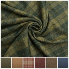 Designer Discount 100% Wool Upholstery Curtain Cushion Tweed Plaid Check Fabric Moss Green Tartan