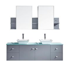 Virtu USA Clarissa 72 in. W x 22 in. D Vanity in Grey with Glass Vanity Top in Aqua with White Basin and Mirror