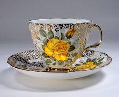 ADDERLEY Tea Cup Set, English Bone China, Teacup and Saucer, Yellow Rose, Gold Chintz Gilt Trim, Tea Party, Vintage 1940s by TeacupsAndOldLace on Etsy https://www.etsy.com/listing/234161620/adderley-tea-cup-set-english-bone-china