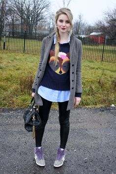 sweet outfit: fox sweater; black leggings; nike sky hi dunks