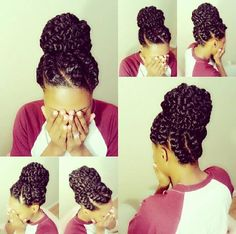 If you have afro-textured hair, it is essential to take extra good care of them. Instead of traditional braids, try flat twist hairstyles! Compared to braids, twists are not just easier to make, but. Goddess Braids Updo, Goddess Hairstyles, African Braids Hairstyles, Flat Twist Hairstyles, Braided Hairstyles, Cool Hairstyles, Black Hairstyles, Protective Hairstyles, Beautiful Hairstyles